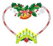 Sercowata rama z Bożenarodzeniowymi dekoracjami i lekka świeczka wysklepiamy ilustracja wektor