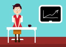 Sercretary in Office with Graph on Board. Vector Flat Design Illustration royalty free illustration
