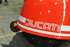 DUCATI logos at the motorcycle body. SERDANG, MALAYSIA -JULY 29, 2017: DUCATI logos at the motorcycle body. DUCATI is one of the famous motorcycle manufactures stock photography