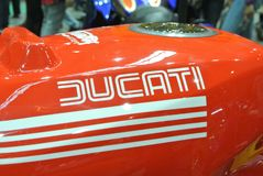 DUCATI logos at the motorcycle body. SERDANG, MALAYSIA -JULY 29, 2017: DUCATI logos at the motorcycle body. DUCATI is one of the famous motorcycle manufactures stock images