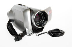 Serebristaya portable video camera. Stock Image