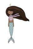 Sereia afro-americano Sirene Tema do mar Objetos isolados no fundo branco ilustração stock