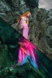 Sereia bonita na costa de mar Imagens de Stock
