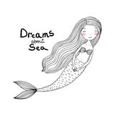 Sereia bonito bonita dos desenhos animados com cabelo longo Sirene Tema do mar Imagem de Stock