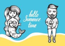 Sereia com cabelo e peixes e moderno longos com gelado em um fundo marinho garatuja do verão com rotulação cartoon ilustração royalty free