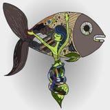 Sereia e peixes Imagens de Stock Royalty Free