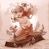 Sereia nova com um par peixes em torno dela Fotografia de Stock