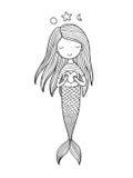 Sereia pequena bonito com coração Sirene Tema do mar Ilustração do vetor Fotografia de Stock Royalty Free