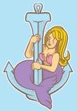 Sereia que balança com âncora Foto de Stock