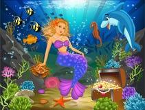 Sereia que senta-se em um underwater da rocha cercado por peixes Ilustração do Vetor