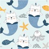 Sereias bonitos do gato do unicórnio teste padrão sem emenda criançola para a tela, matéria têxtil Ilustração do vetor ilustração do vetor
