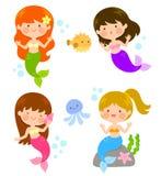 Sereias bonitos dos desenhos animados Fotografia de Stock Royalty Free