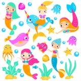 Sereias bonitos Sereia dos desenhos animados, narvais, peixes e outros caráteres subaquáticos Etiquetas, clipart, elementos isola ilustração do vetor