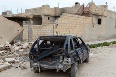 叙利亚军队被轰炸的SEREKANIYE。 免版税库存图片
