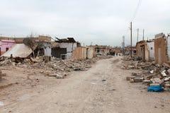 叙利亚军队被轰炸的SEREKANIYE (RAS AL AYN)。 库存照片