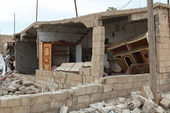SYRIAN ARMY BOMBED SEREKANIYE. Stock Image