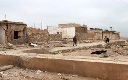 SYRIAN ARMY BOMBED SEREKANIYE (RAS AL AYN). Royalty Free Stock Images