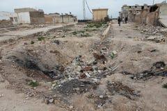 SEREKANIYE BOMBARDÉ PAR ARMÉE SYRIENNE. Photo libre de droits