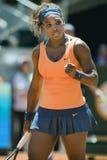 Serena Williams en la acción durante el tenis de Madrid Mutua abierto Imagenes de archivo