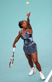 Serena Williams serves at Open GDF Suez Stock Images