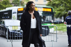 Serena Williams tijdens Milan Fashion Week Stock Fotografie