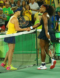 Serena Williams of United States (R) congratulates Elena Svitolina of Ukraine after loss at round three match Stock Photos