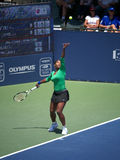 Serena Williams wins Bank of the West. Serena Williams serving in the final set Stock Photography