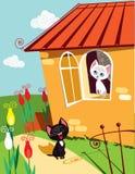 Serenata dei gatti Immagine Stock