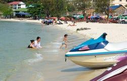Serendipity beach. Playing at Serendipity beach, Sihanoukville, Cambodia royalty free stock images