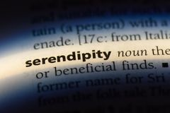 Serendipity. Word in a dictionary.  concept royalty free stock images