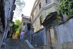 Serene alley of gulangyu island. Xiamen city, china. the elderly and children live a comfortable life Stock Photo