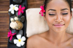 Serene beautiful spa woman relaxing Royalty Free Stock Image