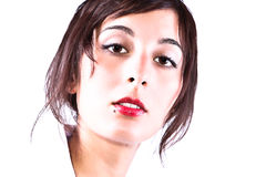 Serene Beuty Look. Closeup Face Portrait Of A Beautiful Girl With A Serene Look Royalty Free Stock Photo