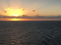 Serene Caribbean Sea Sunrise Imagens de Stock Royalty Free
