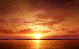 Serene and colorful Sunset. Photo real 3D illustration Royalty Free Stock Photos
