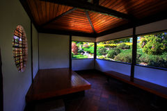 Serene Garden. With Japanese tea house Royalty Free Stock Images