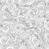 Serene hand drawn outline seamless pattern with sea waves, seashells isolated on white background. Coloring book for adult and older children. Art vector stock illustration