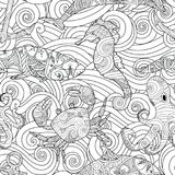 Serene hand drawn outline seamless pattern with waves, sea animals - dolphin, seahorse, crab, octopus isolated on white. Background. Coloring book for adult and Stock Photos