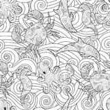 Serene hand drawn outline seamless pattern with waves, sea animals - dolphin, seahorse, crab, octopus isolated on white. Background. Coloring book for adult and Royalty Free Stock Image