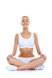 Serene happy woman meditating Stock Photo