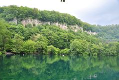 Serene landscape: blue Lake. Caucasus, Russia Royalty Free Stock Photos