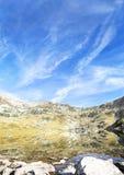 Serene Landscape of Mountain Peak and Lake in Carpathian Mountai Stock Image
