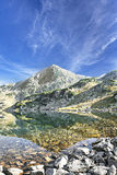 Serene Landscape of Mountain Peak and Lake in Carpathian Mountai Royalty Free Stock Photography