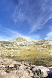 Serene Landscape of Mountain Peak and Lake in Carpathian Mountai Stock Photo