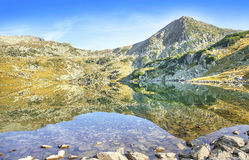 Serene Landscape of Mountain Peak and Lake in Carpathian Mountai Royalty Free Stock Image