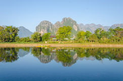 Serene landscape by the Nam Song River at Vang Vieng, Laos.  royalty free stock photo