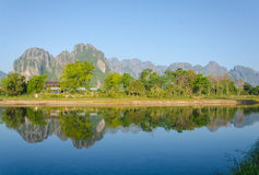 Serene landscape by the Nam Song River at Vang Vieng, Laos Royalty Free Stock Photos