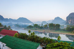 Serene landscape by the Nam Song River at Vang Vieng, Laos stock images