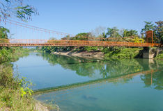 Serene landscape by the Nam Song River at Vang Vieng, Laos.  royalty free stock image