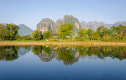 Serene landscape by the Nam Song River at Vang Vieng, Laos Royalty Free Stock Images